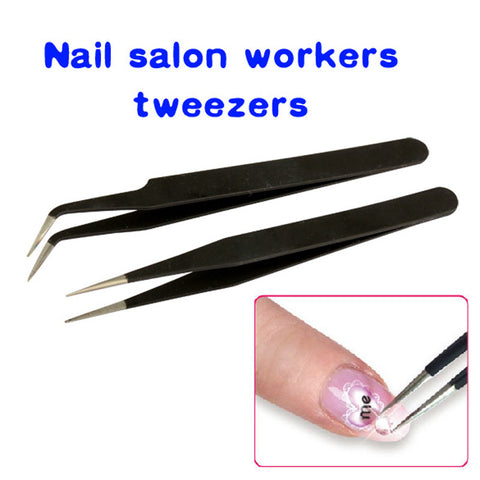 #F9s 2 Black Acrylic Gel Nail Art Rhinestones Paillette Nipper Picking Tool - Cerkos.com