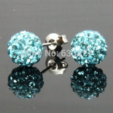 Free Shipping 19 Color 10MM New Shamballa Earrings Micro Disco Ball Shamballa Crystal Stud Earring For Women Fashion Jewelry - Cerkos  - 4