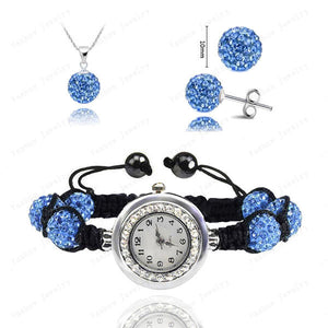 Fashion Watch Crystal Shamballa Set Crystal Pendant+Bracelet+Crystal Earring Jewelry Set 10MM Disco Ball Free Shipping - Cerkos  - 13