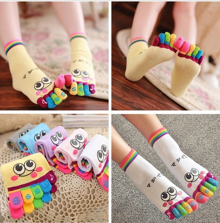 Wiggle Sock Fashion Five toe sock women Sweet Girl type (Hello Kitty cat / Bear / Striped / Surprise / leopard cat ) short socks - Cerkos  - 13