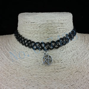 Handmade Hot Selling Vintage Stretch Tattoo Choker Necklace Gothic Punk Grunge Henna Elastic with Pendant Necklaces - Cerkos  - 5