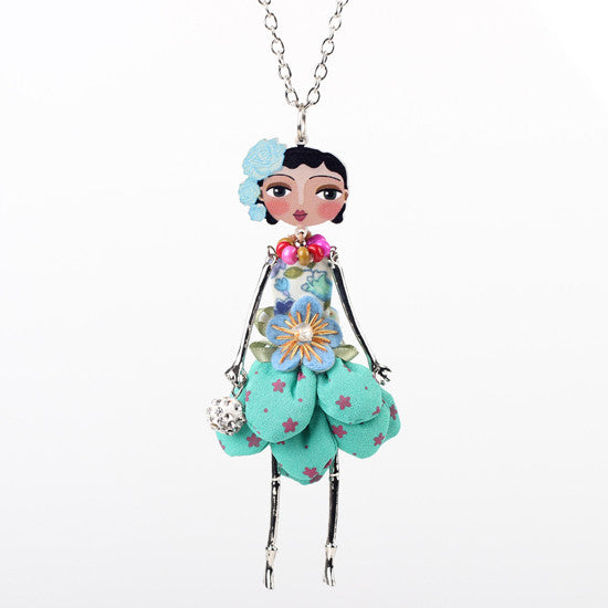 Bonsny doll necklace dress coral trendy new 2015 acrylic alloy cute girl women flower figure pendant fashion jewelry accessories - Cerkos  - 4
