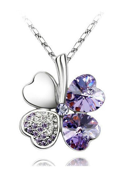 Free Shipping Factory Wholesale Price 18K GP Austrian Crystal Clover 10 colors mixed 4 Leaf Leaves pendant Necklace jewelry 9554 - Cerkos  - 3