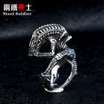 steel soldier drop shipping movie style Alien ring stainless steel good detail men ring titanium steel jewelry