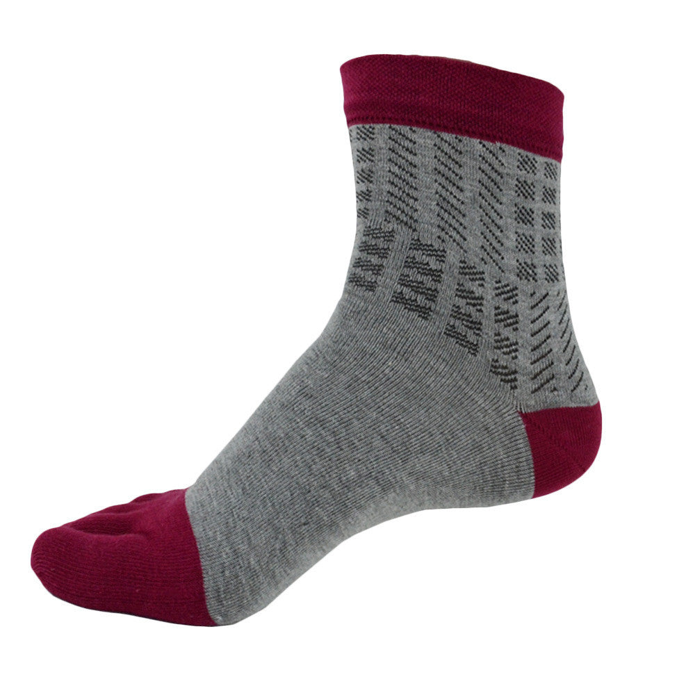 Wiggle Socks: Unisex Cotton Breathable, Absorbent Toe Socks for Men and Toe Socks for Women: Red