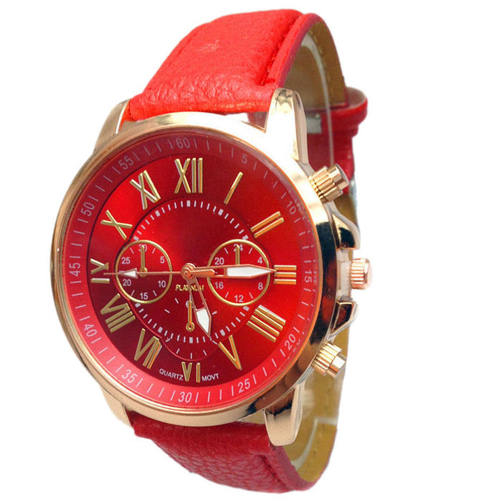 xiniu Fashion Geneva Watches Women Men Casual Roman Numeral Watch For Men Women PU Leather Quartz Wrist Watch relogio Clock