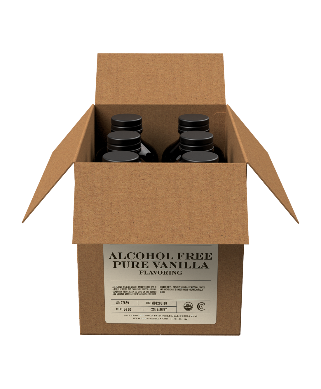 Vanilla | Cookbook Alcohol Free Pure Vanilla | Packs and Cases