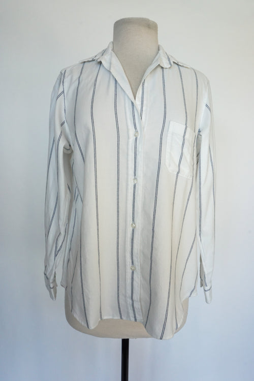 Grayson - Feathered Flannel White with Blue Stripes
