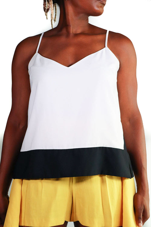 Banana Republic - White Color Block Camisole - L