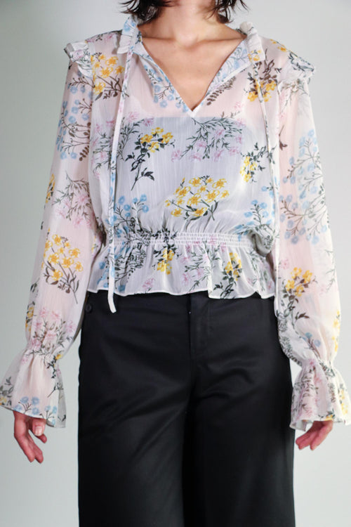 Shades of Blonde - Sheer Floral Blouse - XS