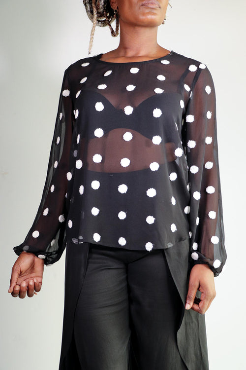 Emelia - Sheer Polka Dot Button Up