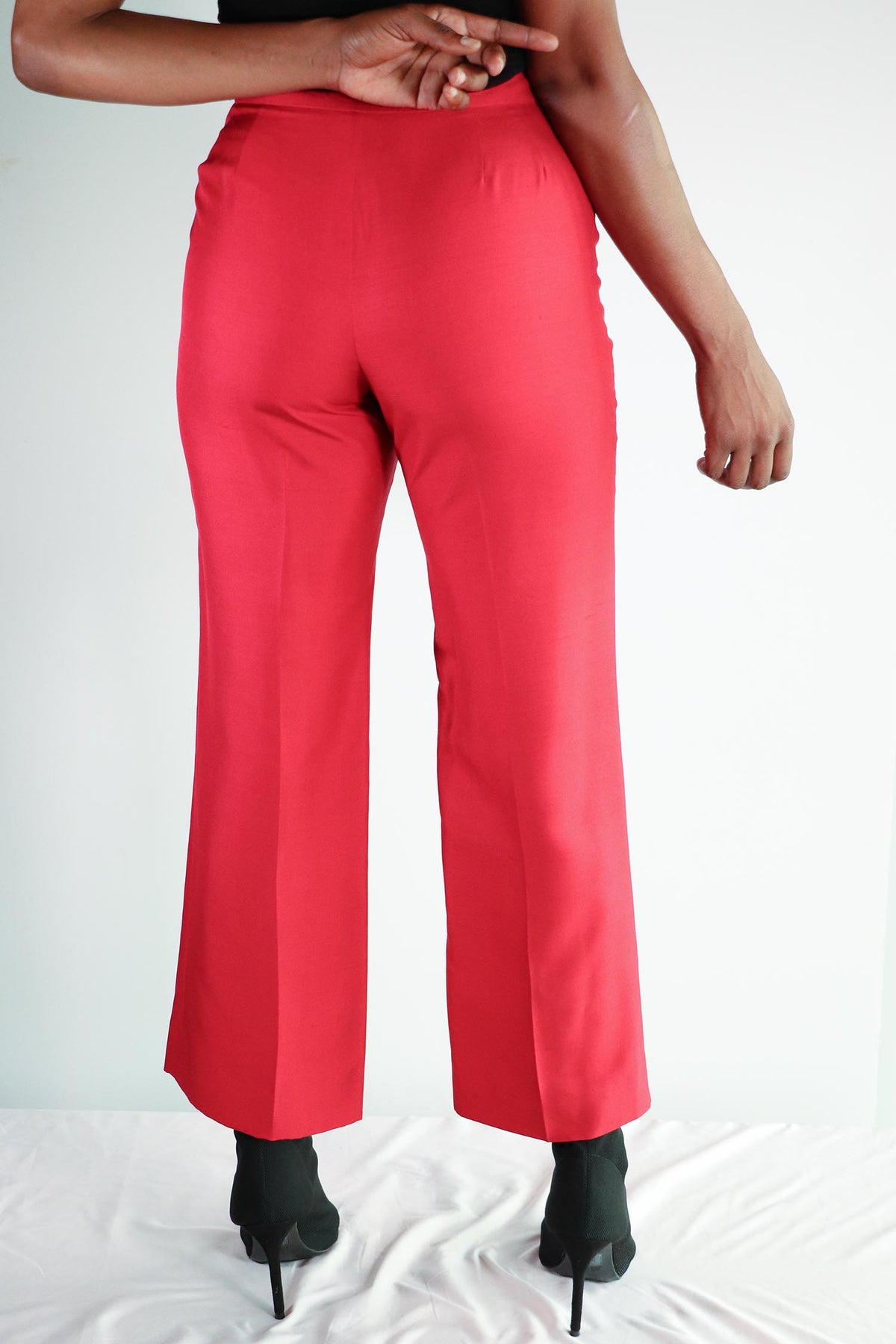 Vintage Anne Taylor - Red Silk Pants - 6 Petite