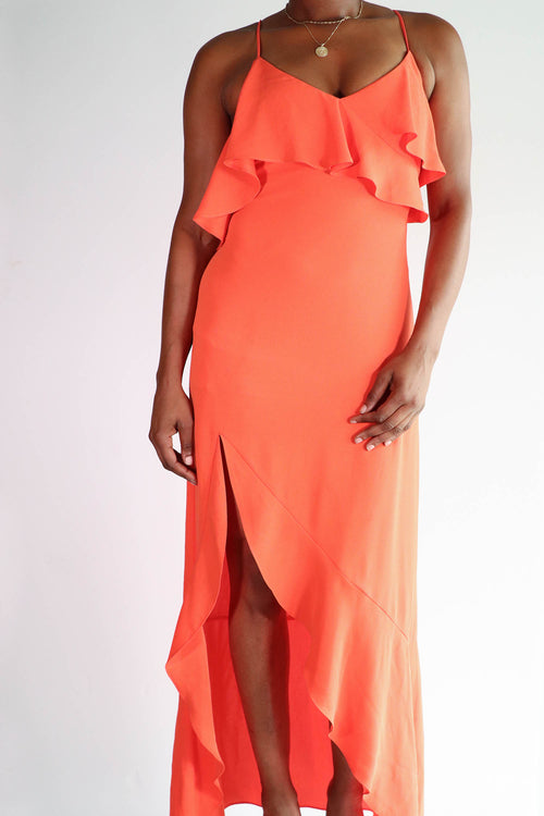 BCBGMAXAZRIA -  Orange Side Slit Dress - 6