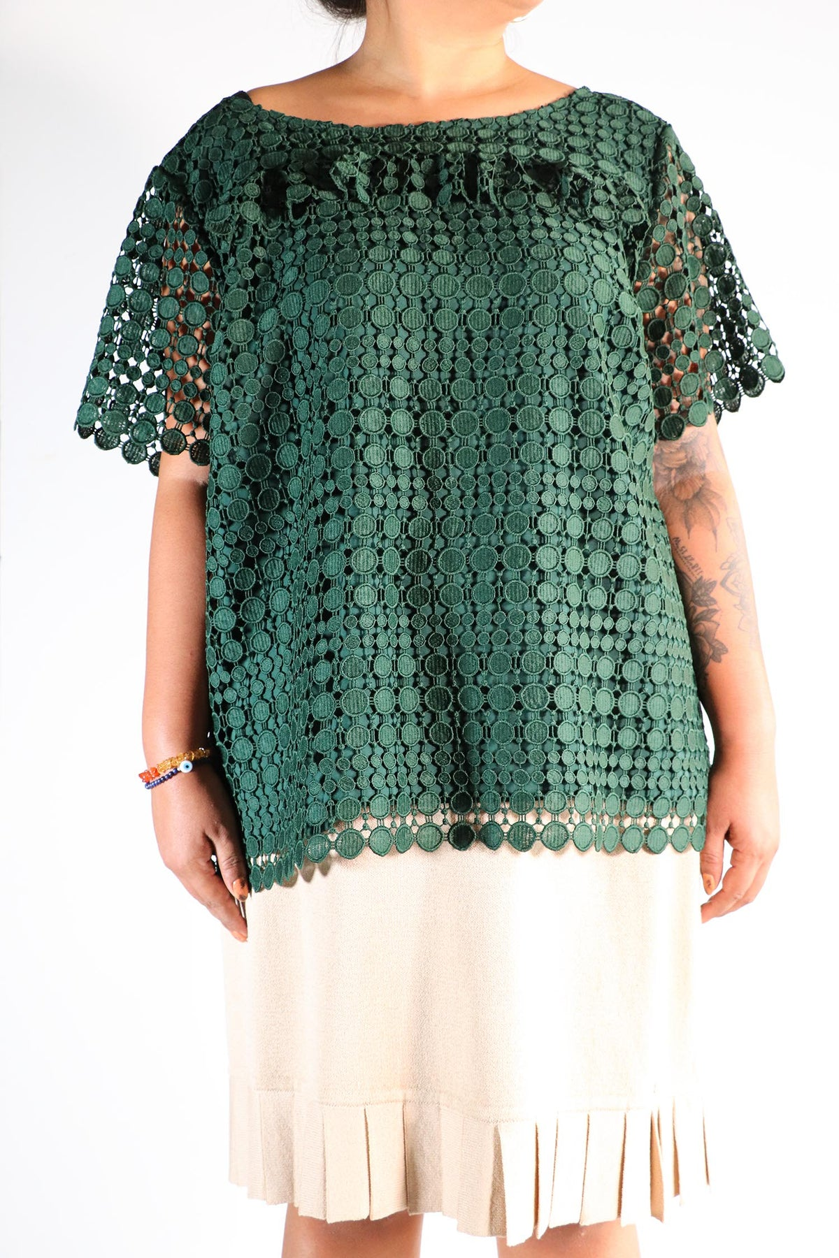 RSVP by Talbots - Green Embroidered Eyelet Top -2X