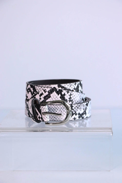 Snakeskin Printed Belt - White