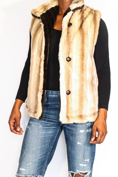 Reversible Faux Fur Vest - M