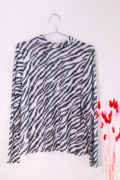 Nasty Gal - Stripe for the Picking Zebra Mesh Top