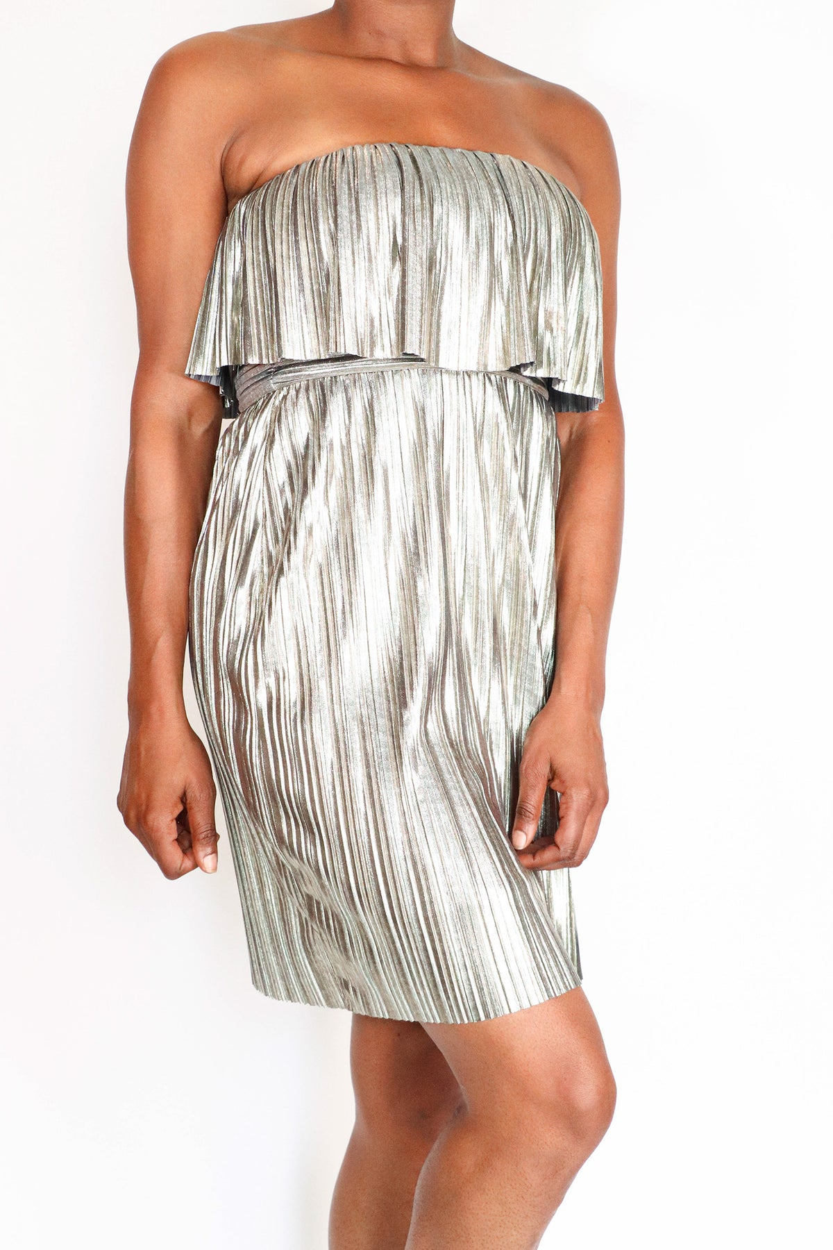 BCBGMAXAZRIA - Silver Metallic Accordion Dress - S