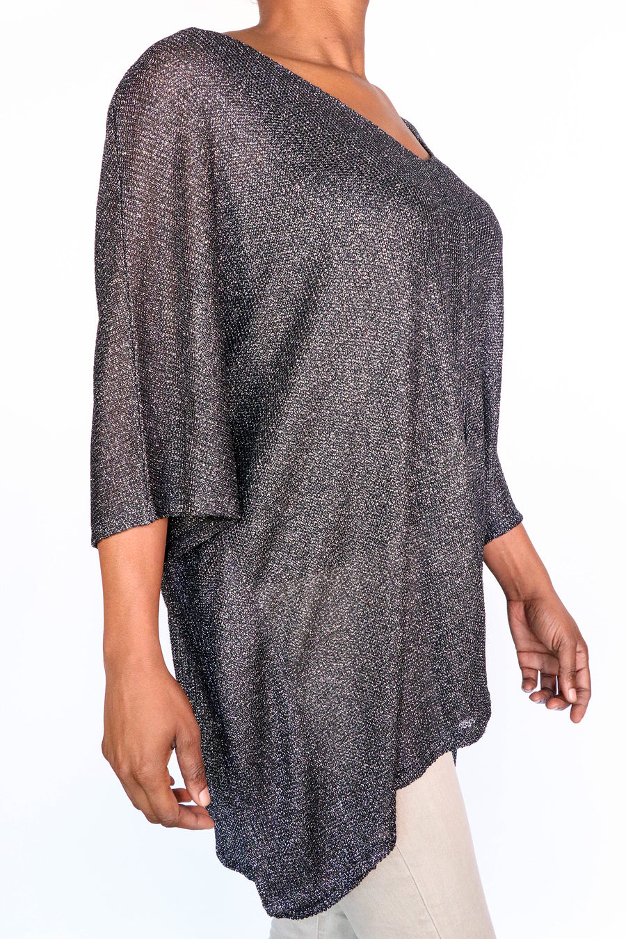 BCBGMAXAZRIA - Black and Silver Knit Blouse - OS