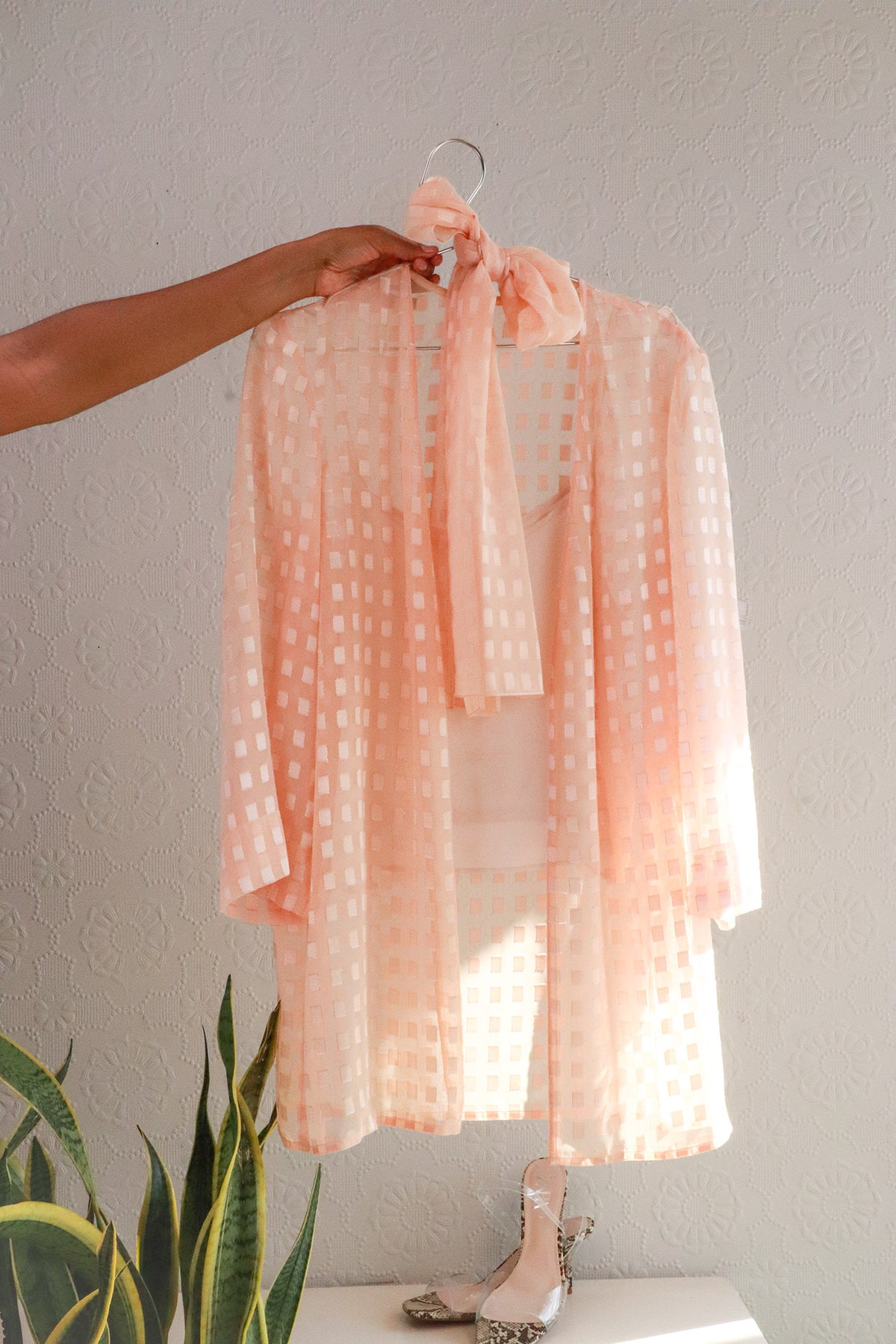 Vintage Baby Pink Top With Scarf - S