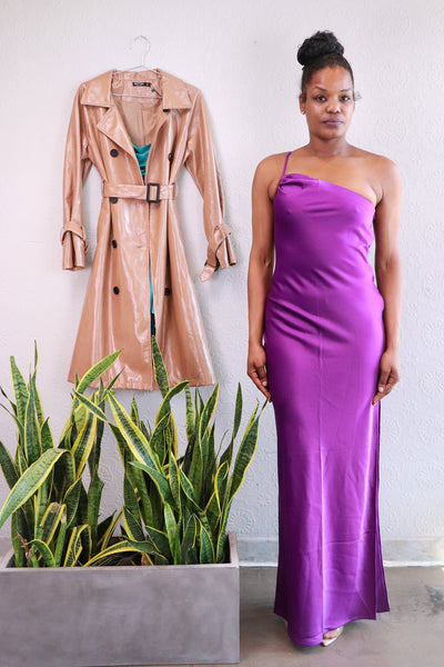 Nasty Gal - All for One Shoulder Maxi Dress - Purple - 6