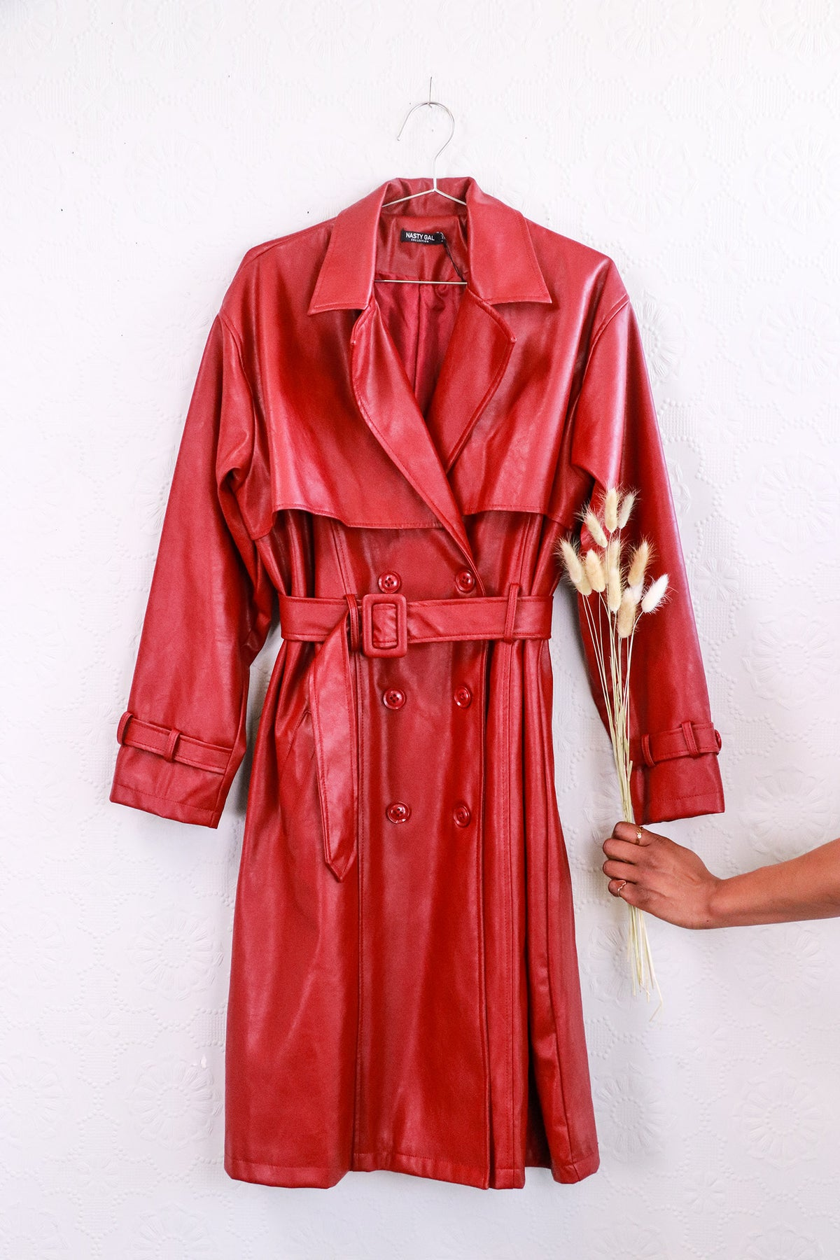 Nasty Gal - Red Faux Leather Trench Coat - 6