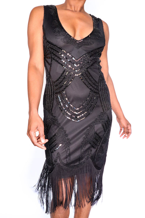 Sequin Fringe Flapper Dress - S