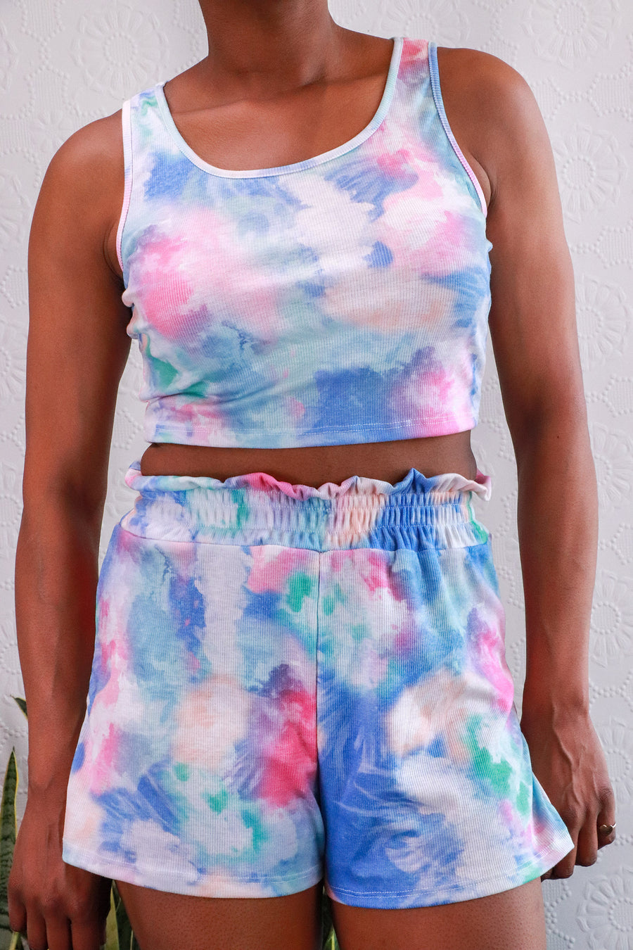 Nasty Gal - Get Behind The Groove Tie Dye Crop Top & Shorts Set - S