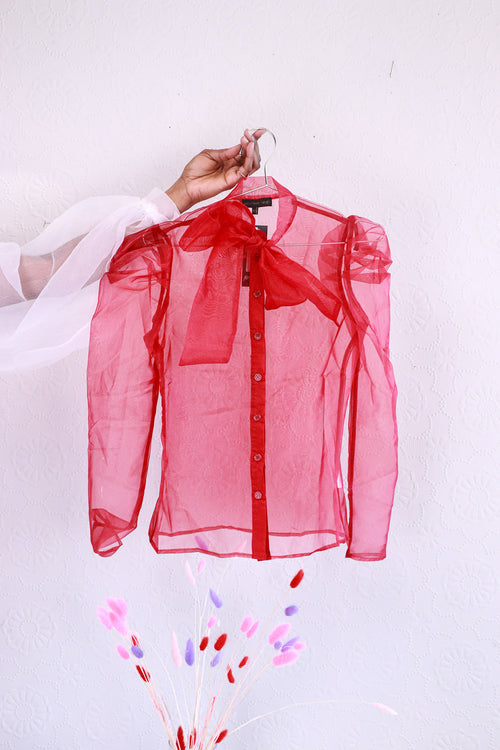 Love & Other Things - Red Organza Tie Neck Shirt - XS
