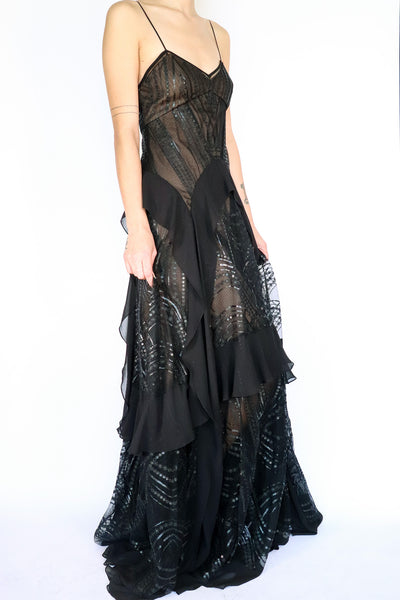 BCBGMAXAZRIA - Black Sequin Evening Dress - 6
