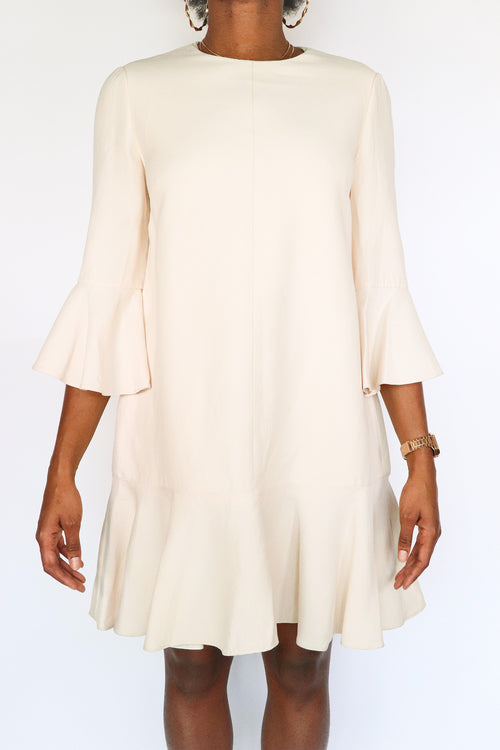 Vintage Valentino - Cream Ruffle Dress - 10