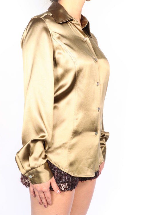 Vintage Saks Fifth Avenue - Bronze Silk Blouse - 4