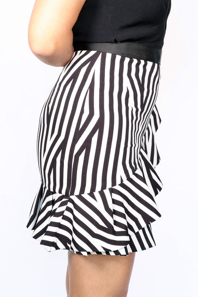 Self Portrait - Striped Ruffle Skirt - 2