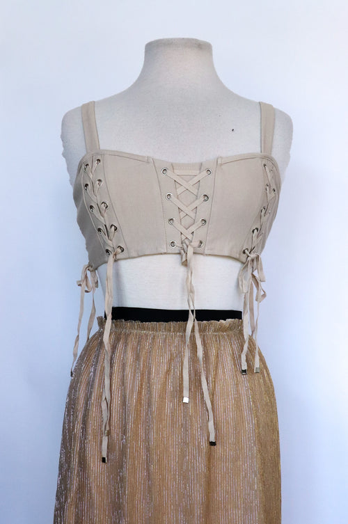 Naked Wardrobe - Beige Corset Top