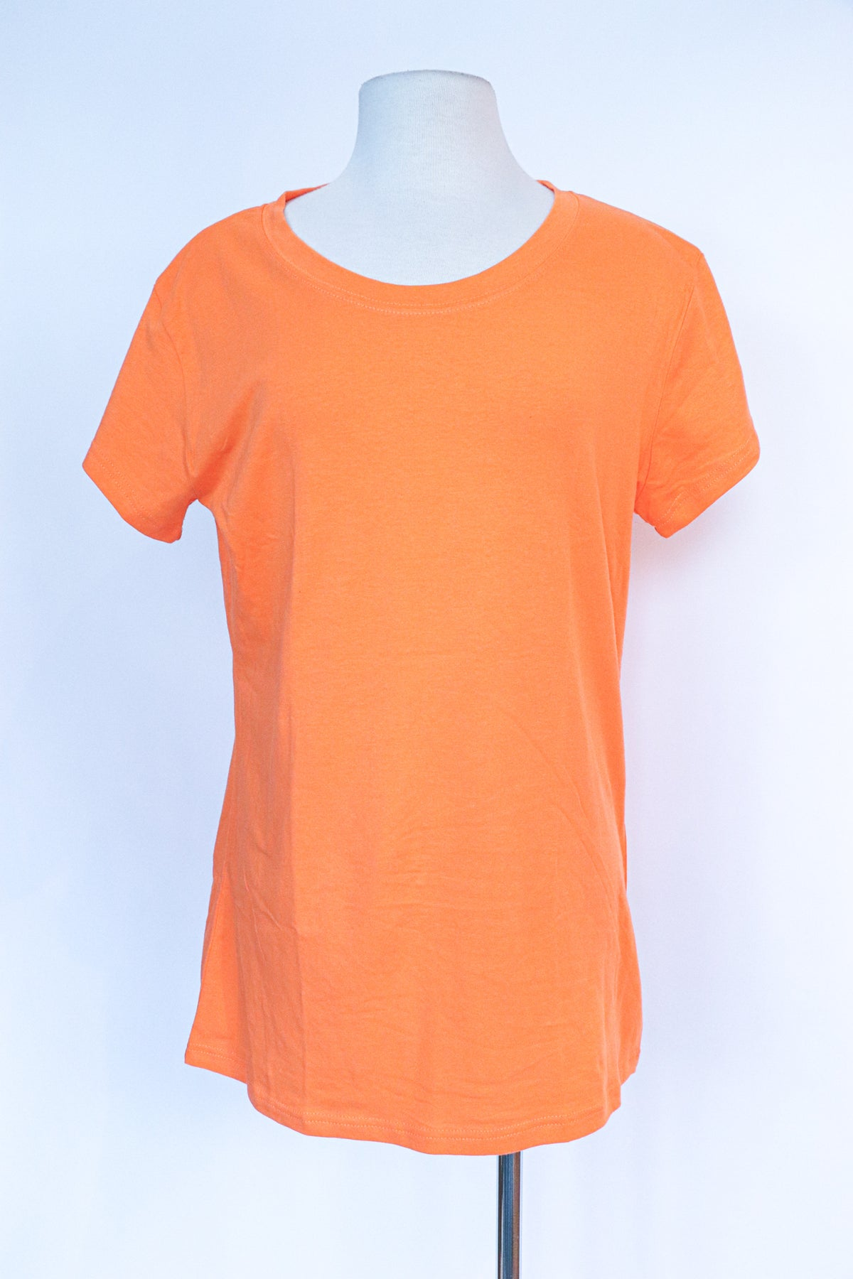 Wet Seal - Basic Tee - Orange Scoop Neck