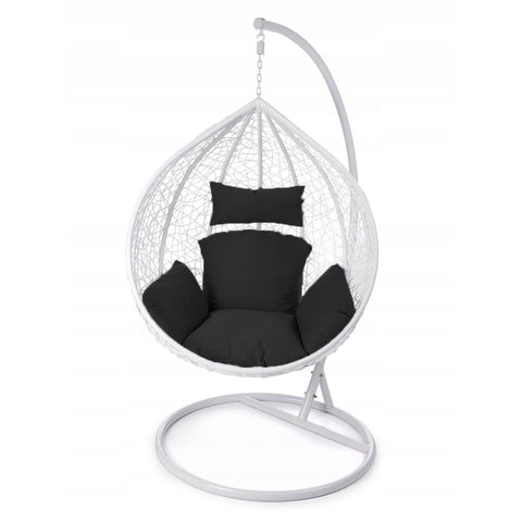 Image of Rattan Hanging Ball Chair in White