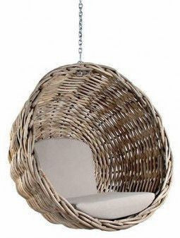 Bon Ebba   Rattan Wicker Hanging Basket Chair   1