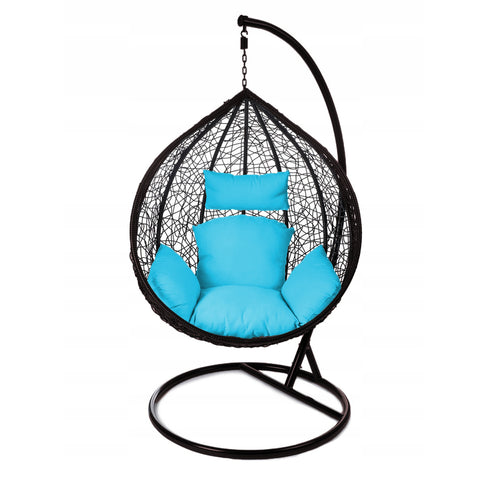 Image of Rattan Hanging Ball Chair in Black