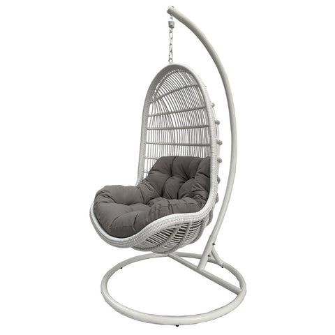 Image of Bermuda Hanging Egg Chair in Pearl White