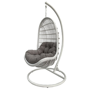 Bermuda Hanging Egg Chair in Pearl White