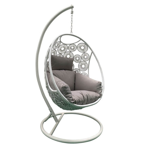 Image of Savanna Lavish Hanging Pod Chair in White