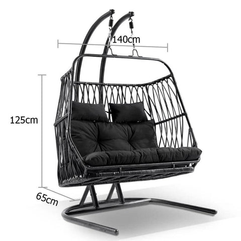 Kaiser Double Hanging Outdoor Chair in Jet Black