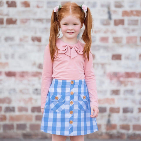 Girls Button Skirt - Elsa Blue