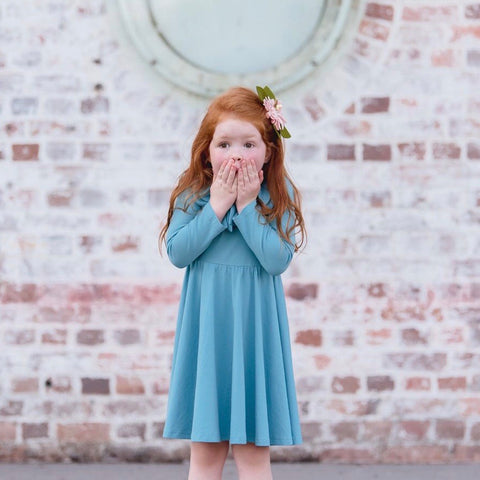 Girls Bow Collar Dress in Dusty Teal