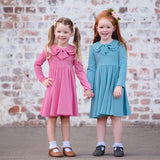 Girls Bow Collar Dress in Pink