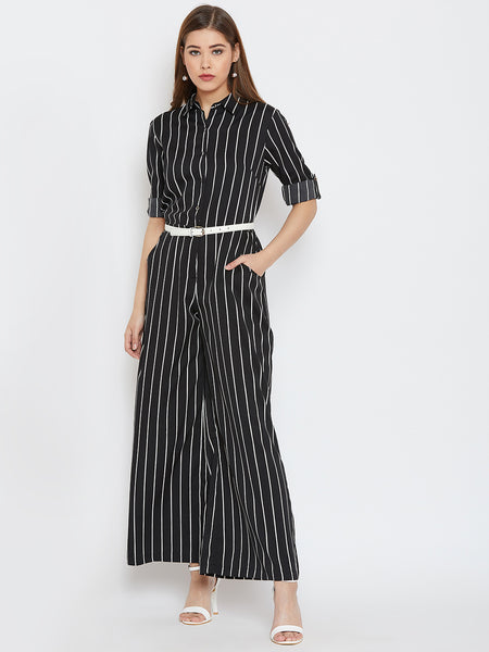 ec09e7db41 Stripes printed roll up sleeves Jumpsuit