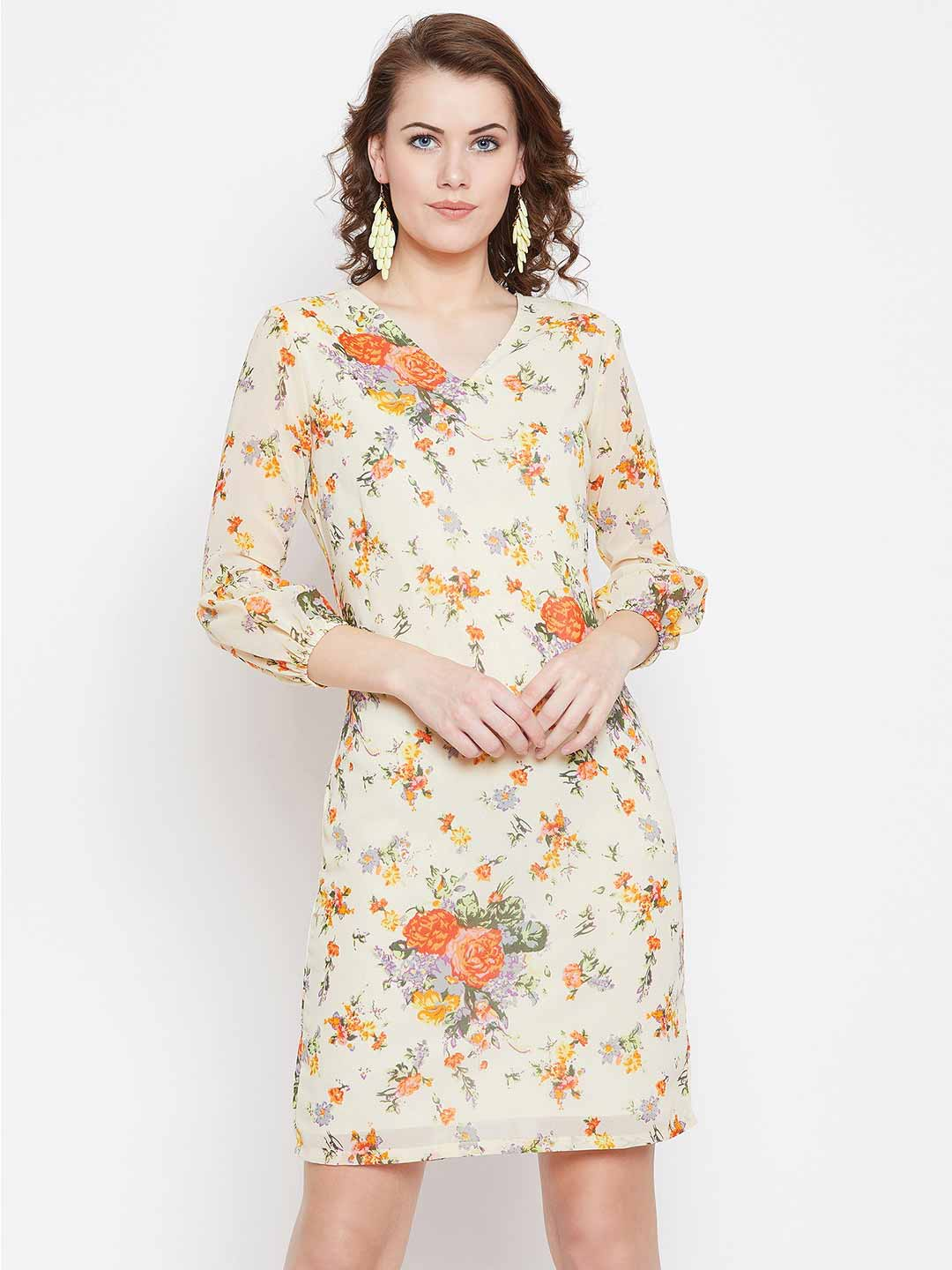 Floral printed pencil fit balloon sleeves dress
