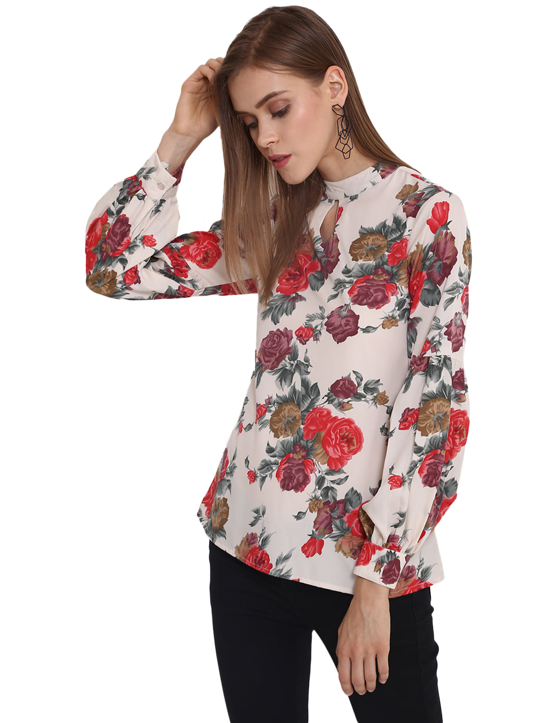 d6988cce5f0 Floral Printed Balloon Sleeves Top - Purys