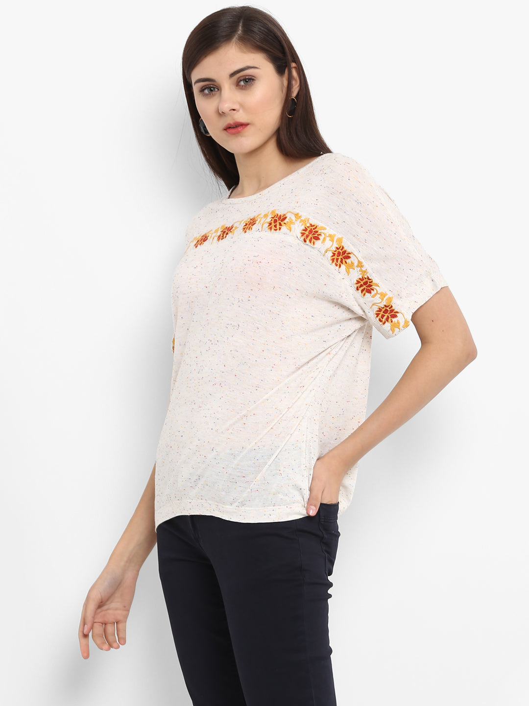 Self Design Tee With Embroidered Yoke Purys