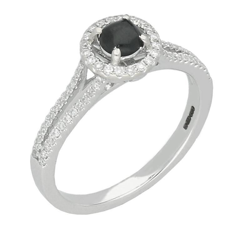 18ct White Gold Diamond 0.31ct Solitaire Split Shank Ring